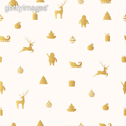 Merry christmas golden seamless pattern with gifts and presents. Holiday texture with santa claus, reindeer, sleigh and christmas tree. Vector isolated gold background for xmas wrapping paper.