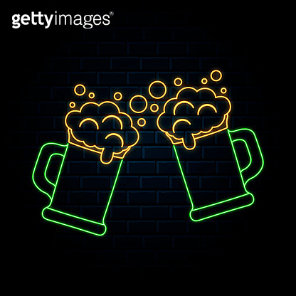 lowing neon sign with two clinking beer mugs. Vector isolated illustration. Icon for night pub background. Led luminous sign for alcohol bar signboard.