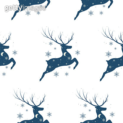 Christmas seamless pattern with reindeer and snowflakes. Vector isolated texture with deer silhouette for wrapping paper. Holiday background for noel invitation cards.