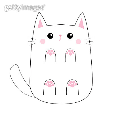 White cute sad cat baby kitten. Bottom below view. Pink paw print hand. Blush cheeks. Contour silhouette. Kawaii animal. Cartoon kitty character. Funny face. Love card. Flat design. White background