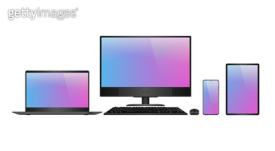 Laptop, desktop computer, smartphone and tablet realistic vector mockups. Personal computers and mobile devices for responsive web design.