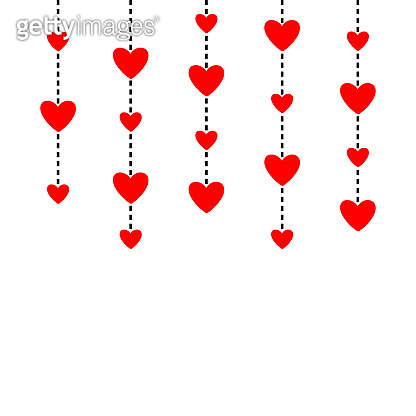 Hanging red hearts. Dash line. Happy Valentines Day. Love greeting card. White background. Isolated. Flat design.