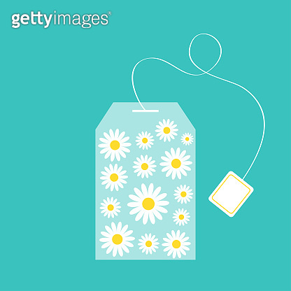 Tea bag herbal chamomile daisy camomile flower set inside. Teabag packaging with label icon. Top wiew. Flat design. Isolated. Green background.
