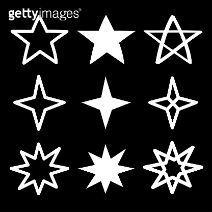 Star Sparkles sign symbol icon set. White silhouette shape. Hand drawing doodle image. Cute shape collection. Christmas decoration element. Flat design. Black background.