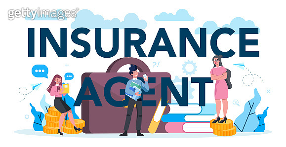 Insurance agent typographic header concept. Idea of security and protection of property