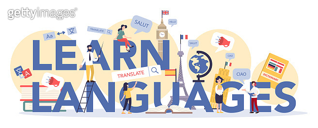 Language learning typographic header concept. Study foreign languages with native speaker.