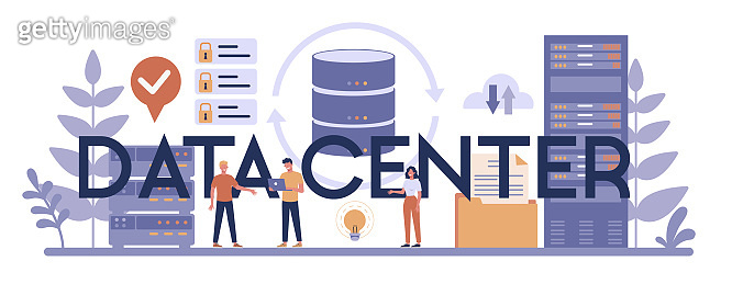Data center typographic header concept. Female and male character working at data base.