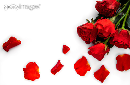 Valentine  red roses bouquet