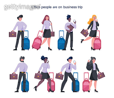 Business people having a business trip set. Female and male
