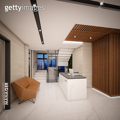 Computer generated image of Hotel Lobby and Entrance Hall. Architectural Visualization. 3D rendering. View 03