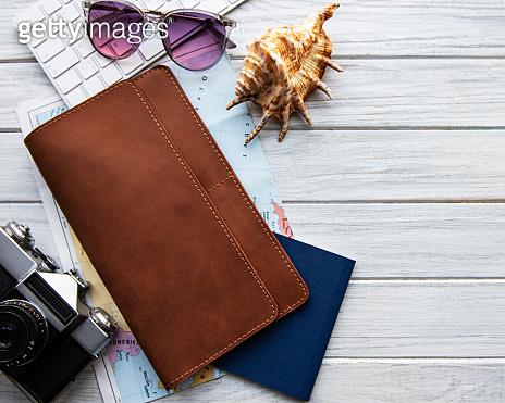 Brown leather travel organizer