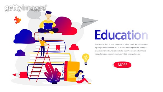 Education horizontal banner for your website. E-learning and modern technology concept.