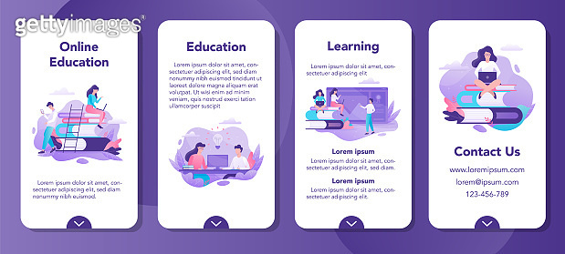 Online education mobile application banner set. Idea of distance learning