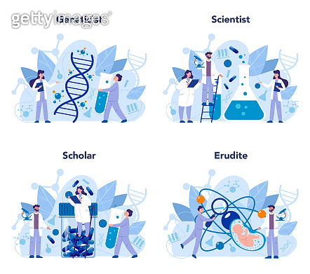 Geneticist concept set. Medicine and science technology. Scientist work with molecule