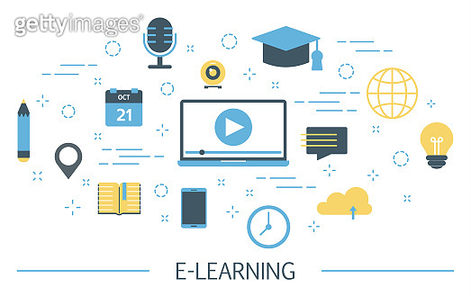 E-learning concept. Getting education online and study remote. Idea of distance training.