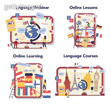 Language learning online service or platform set. Study foreign languages with native