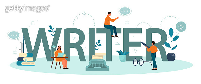 Professional writer typographic header concept. Idea of creative