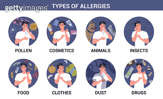 Types of allergies infographics set. Runny nose and itchy skin. Seasonal disease. Causes