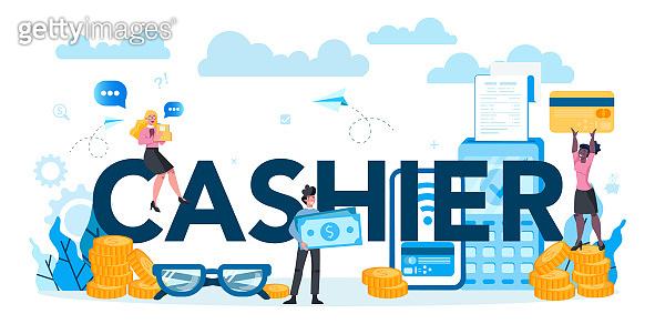 Cashier typographic header concept. Worker behind the cashier counter in the supermarket,