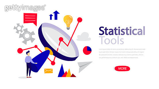 Statistical tools horizontal banner template for web page. Responsive design for website.