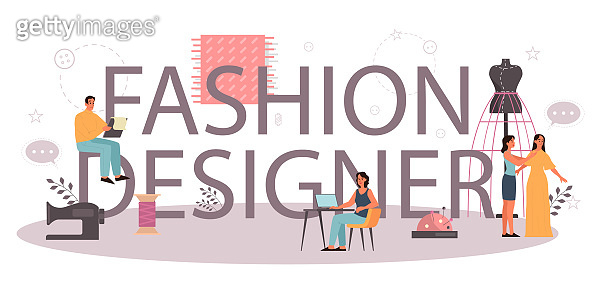 Fashion designer or tailor typographic header concept. Professional master sewing clothes.