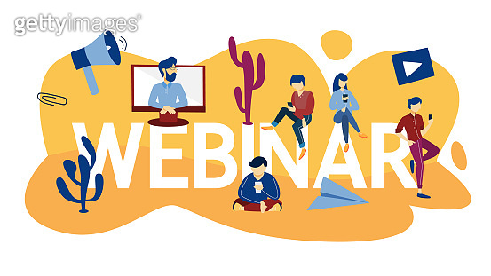 Webinar concept. Idea of online education. Communication with professional through