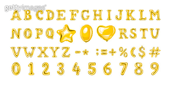 Set of golden number and letter balloons. Helium balloon in heart and star shape.