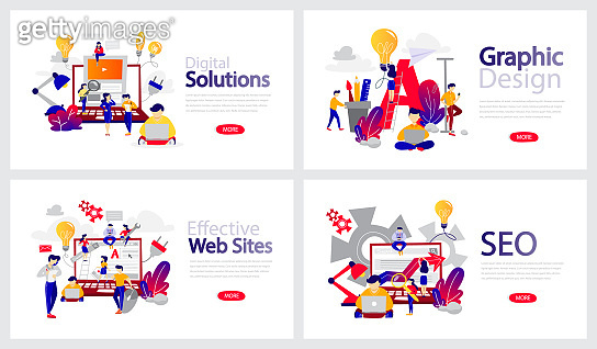 Set of horizontal banner templates for web page. Digital solution, SEO and graphic design