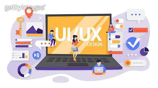UX UI design. App interface improvement for user. Modern technology concept. Flat vector