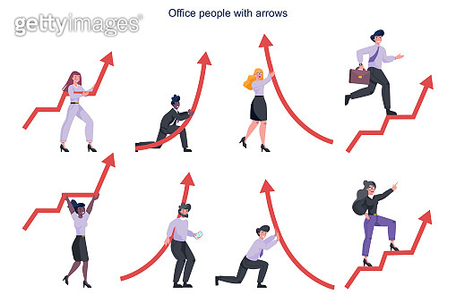 Business people holding a red rising arrow. Idea of financial growth and business progress.