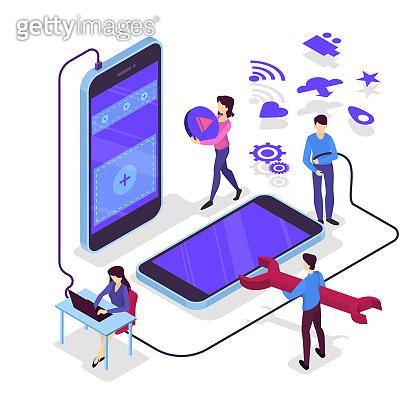 Mobile app development concept. Modern technology and smartphone interface design.