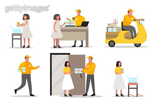 Delivery service concept. Set of delivery man. Collection of courier in uniform holding box.