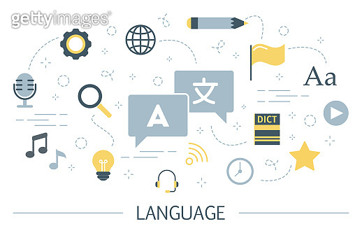 Language learning concept. Idea of global communication. Studying foreign vocabulary.