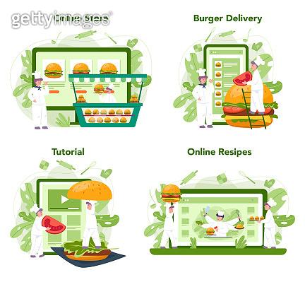 Fast food, burger house online service or platform set. Chef cook tasty hamburger. Fast food