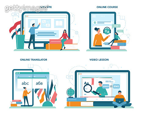 Translator and translation service online service or platform set.