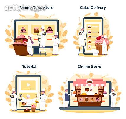 Confectioner online service or platform set. Online store, baking tutorial and cake delivery.