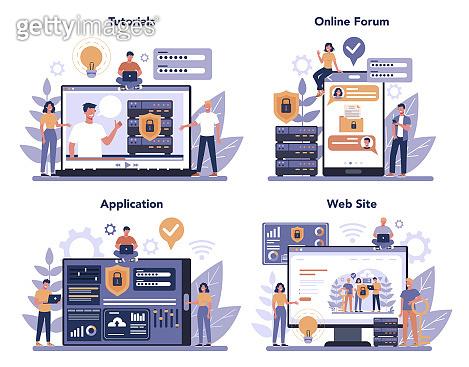Cyber or web security online service or platform set. Idea of digital
