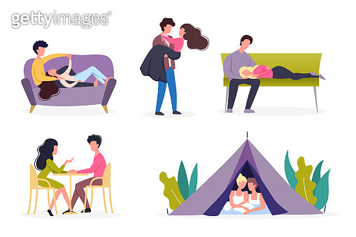 Couple on different activity set. Woman and man are in love. Lovers spending time together.
