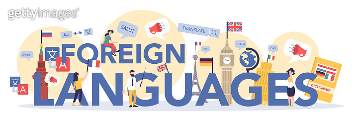 Language learning typographic header concept. Study foreign