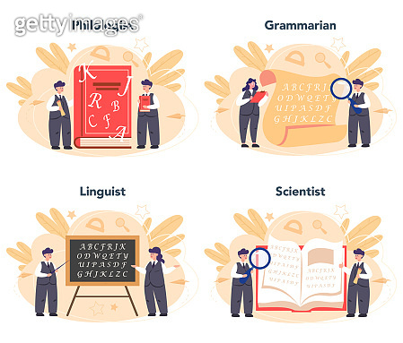 Philologist concept set. Professional scientist studying a language structure. Philology