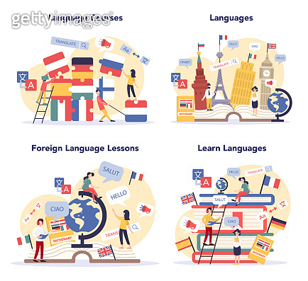 Language learning concept set. Study foreign languages with native