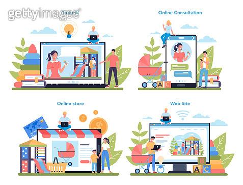 Babysitter service or nanny agency online service or platform set. In-home babysitter.