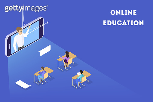 Education concept. Idea of learning and knowledge. Study online. Vector isometric