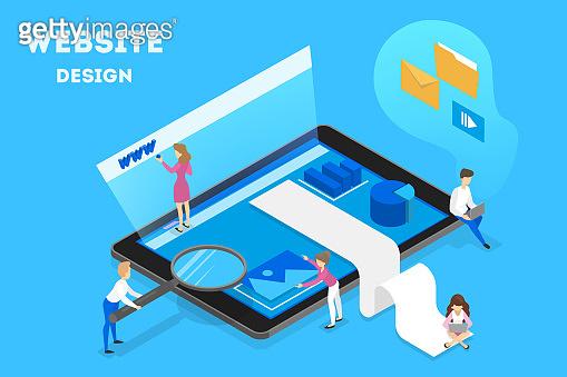 Website design concept. Making responsive web design and site development. People