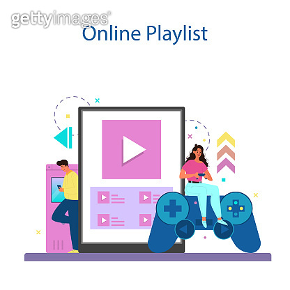 Professional gamer online service or platform. Person play on