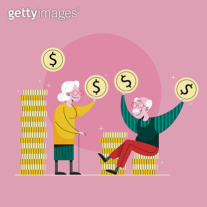 Saving money for retirement, financial independence. Idea of savings