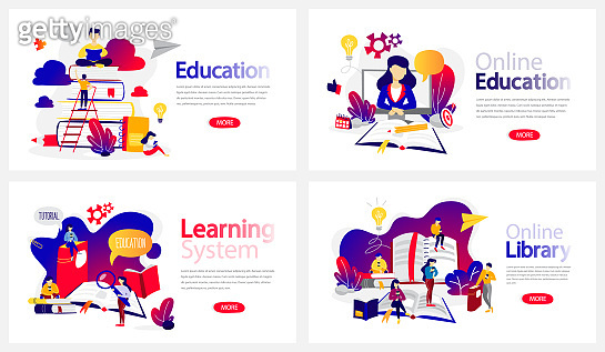 Online education courses banner set. Online library and e-learning system. Modern wireless