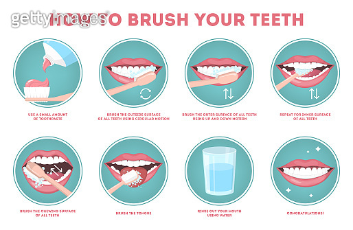 How to brush your teeth step-by-step instruction. Toothbrush and toothpaste for oral