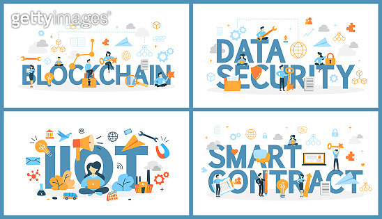 Set of digital technology word with people around. Blockchain and data security, internet