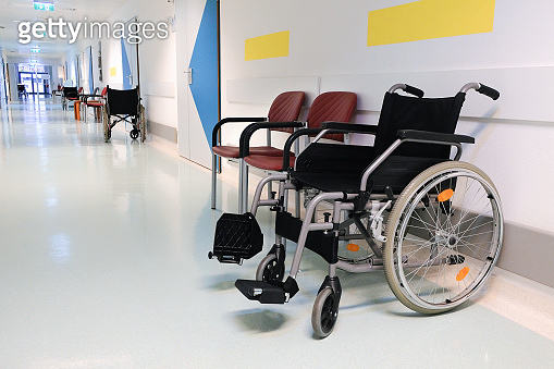 Wheelchair for the disabled in the hospital corridor.